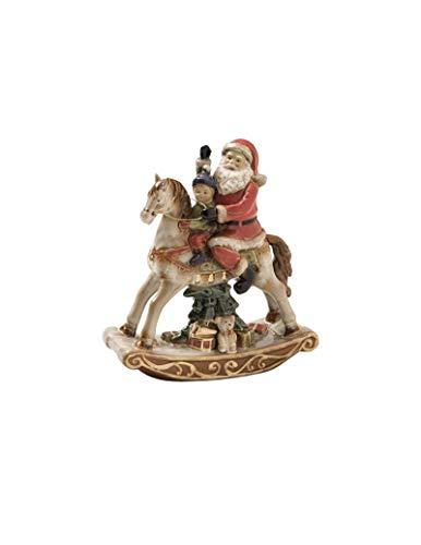 BRANDANI Babbo Natale su Cavallo a Dondolo Porcellana l.22x25h. Art. 82646