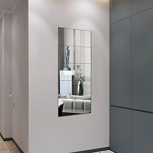 Espejos sin marco de longitud completa para pared, 1/8 pulgadas de grosor, espejos de cuerpo completo de vidrio real para baño,...