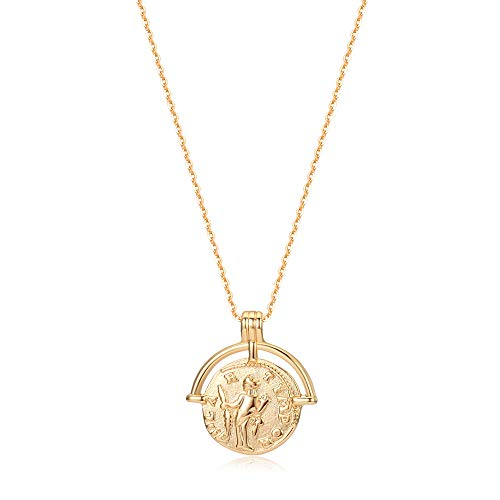 Mevecco Carved Gold Coin Pendant Necklace for Women Girls Men,18K Gold Plated Dainty Minimalist Necklace for Women gold