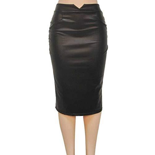 NOBRAND Falda para mujer, faldas de piel, cintura alta, delgadas, para fiesta, falda lápiz Negro Negro ( 36