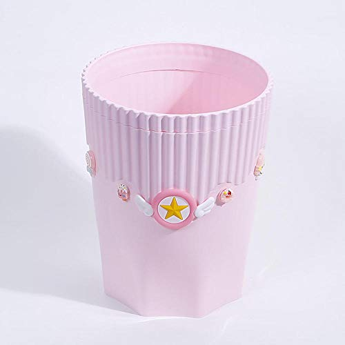 SKKGR Tischmilleimerl Desktop Bin Pink Abfallbehälter Anime Card Captor Kunststoff Mülleimer Cartoon Home Office Desktop Müll Aufbewahrungskorb