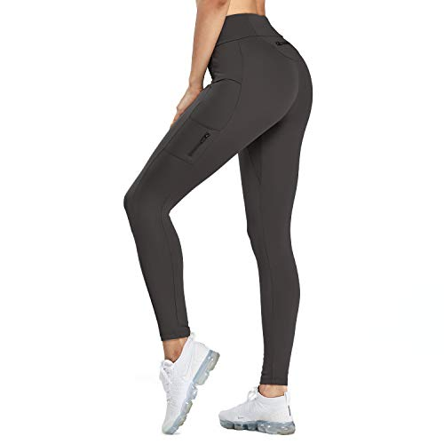 Aoxjox Pocket High Waist Yoga Pants Workout Gym Non Stop Leggings(Black, Medium)