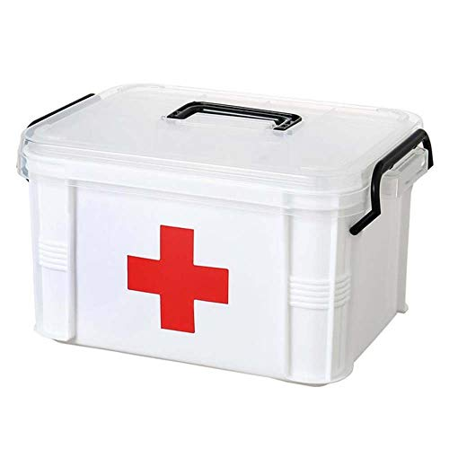 Lecez Caja de Medicina para el hogar, Caja de Almacenamiento Compartimientos en Capas Grandes Transparentes Médico de Familia Portátil Transparente Kit de Primeros Auxilios, Blanco, 20