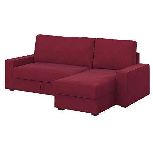 Soferia Ersatzbezug fur IKEA VILASUND Bettsofa mit Récamiere, Stoff Majestic Velvet Wine Red, Rot