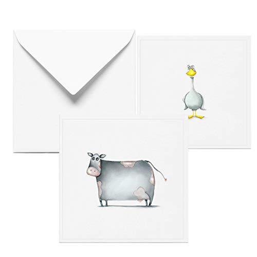 Glückwunschkarte zur Geburtstag | 2 Set Grußkarten mit Ente und Kuh | Taufkarte Mädchen | Geburtstagskarte | Handmade in Hamburg aus 100% Recyclingpapier