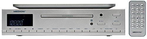 MEDION LIFE E66281 (MD 84627) CD-Küchenunterbauradio, Montage z.B. unter Küchenschränke, als Tischgerät verwendbar, PLL UKW-Stereo Radio, Uhrzeitanzeige, Koch-Timer, silber