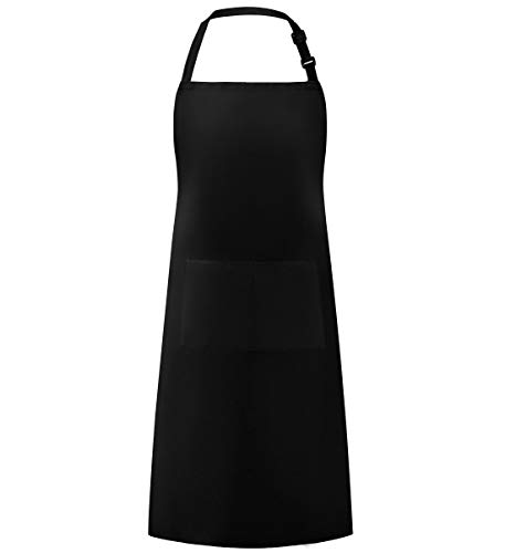 Syntus Adjustable Bib Apron Waterdrop Resistant with 2 Pockets Cooking Kitchen Aprons for Women Men Chef, BBQ Drawing, Black (1 Pack)