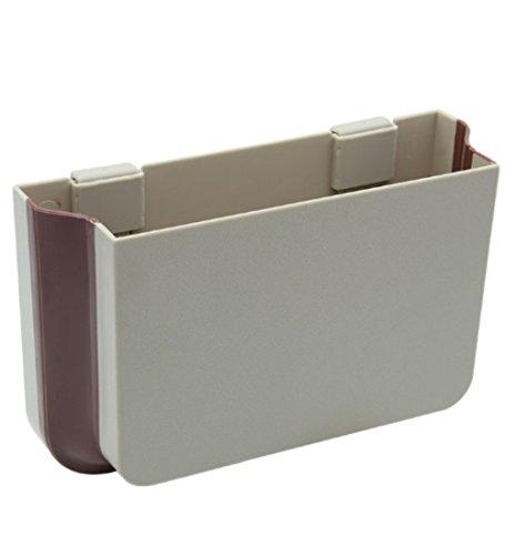 XSAJU 車用収納ボックス 折りたたみポケット 小物 ゴミ入れ カーシートの裏に簡単取り付け (ベージュ)