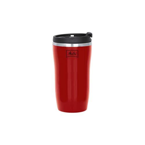 Melitta térmica 250ml Taza Isotérmica de 250 ml, Base Antideslizante, Antigoteo, Totalmente Hermético, Rojo, 0.25 litros, Plástico