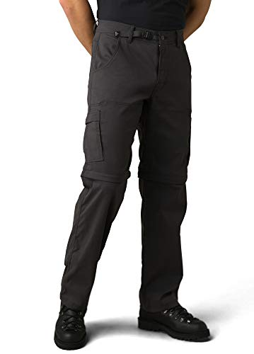 Prana Stretch Zion - Pantalón Convertible para Hombre, Hombre, M4SC32116, Carbone, 33W / 32L