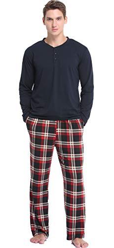 Vlazom Conjunto de Pijamas para Hombre, Pijamas Hombre Invierno de Manga Larga, Pijama Suave y Parte Superior a Cuadros S-XXL