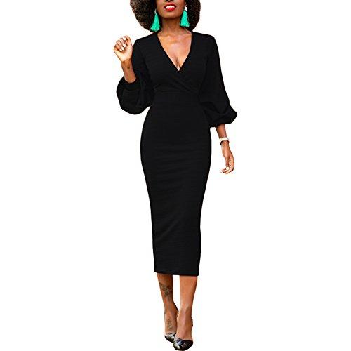 Lover-Beauty Abendkleider Damen Hoch Taille Etuikleid V-Ausschnitt Laternenhülse Bleistiftrock Vintage Etuikleid Elegant