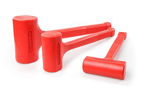C&T Dead Blow Hammer (SET), Red Unibody Molded, Checkered Grip, Spark and Rebound Resistant (1LB-16OZ, 2LB-32OZ, 3LB-48OZ)