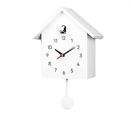 Dyna-Living Kuckuckswanduhr,Moderne Kuckucksuhr,Schwarzwalduhr,kuckucksuhr modern mit pendel,Moderne Quarz-Kuckucksuhr mit Vogelstimme und Nachtruhe-Automatik. (weiß)