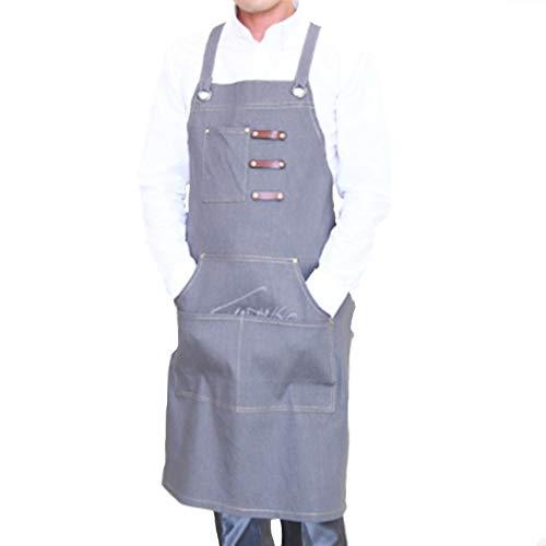 Tool Apron, Denim Werk Schort Cross Bandage Ontwerp voor Restaurant Catering Keuken Werkkleding (grijs)