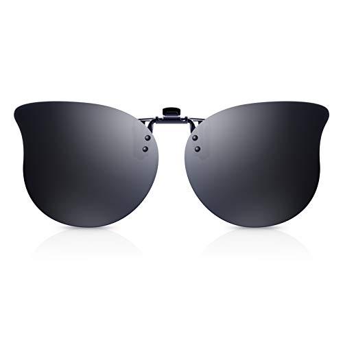 Polarisierte Clip-On Sonnenbrille Herren/Damen mit UV Schutz, Sonnenbrillenaufsatz für Brillenträger- Flip Up Vintage Cat Eye Sonnenbrille für Autofahren Radfahren Angeln Reisen (Grau)