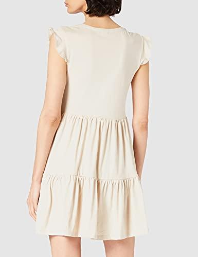 Only Onlmay Life Cap Sleeves Frill Dress Jrs Vestido, Piedra Pumice, XS para Mujer