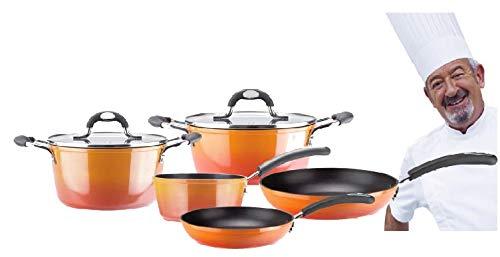 VITREX 71PAASFUE28 71PAASFUE28-Asador Gourmet de Aluminio Full Induction Modelo Fuego, Metal, Naranja, 28 cm