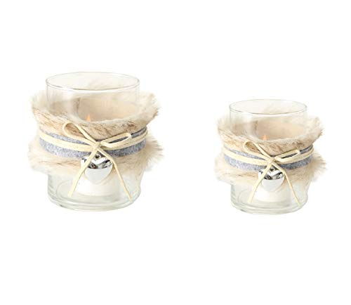 Boltze 2 x Teelichthalter Glas grau Creme mit Fell Band und Herz Höhe 8-13 cm Windlicht Deko Tischdeko Landhausstil Farben:Creme