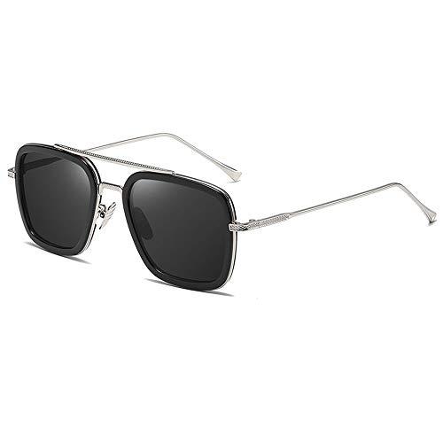 Gafas De Sol para Hombre Y Mujer Moda Gafas ProteccióN para ConduccióN Gafas De Deportes Al Aire Libre De Pesca De Moda Regalo de San Valentín (Color : Black Silver)