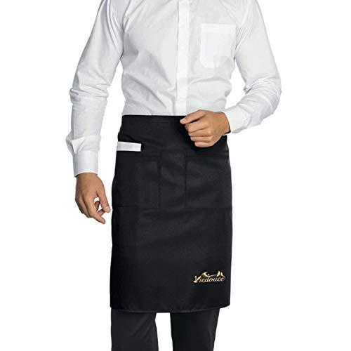 Viedouce 2 pièces Tabliers de Cuisine,Taille Basse Tablier Imperméable avec 2 Poches pour Restaurant Chef Serveur Barista Barbecue,Café,Tablier pour Chef,Tablier pour Hommes Femmes (Noir)