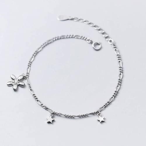 LOt S925 Pulsera de Flores de Cinco Pétalos de Plata Dulce Pulsera de Diamantes de Estrella de Cinco Puntas de Estilo Literario Coreano para Mujerpulsera