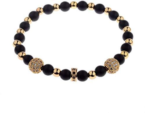 JPSOUP Pulsera de Piedra Mujer, 7 Chakra Natural Helada Piedra Brazalete Elástico Golden Lucky Beads Joyería Yoga Energía Balance de la energía Protección de rezos Encanto Difusor Mujeres Pulseras