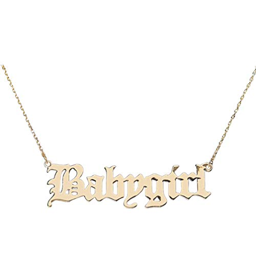 Holibanna Babygirl Necklace Gold Personalized Words Clavicle Chain Choker for Girls Women Jewelry Gift
