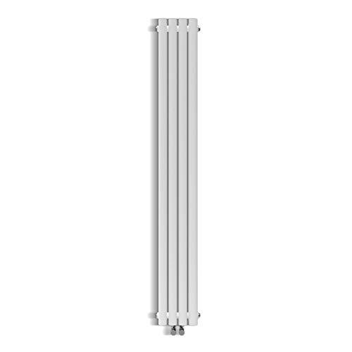 Design Röhren Heizkörper 230x1800mm Weiß Oval Paneelheizkörper Vertikal Mittelanschluss Einlagig