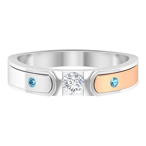 Anillo de compromiso de metal mixto, anillo de boda, anillo aguamarina forma redonda, 0.16 quilates HI-SI anillo de diamante redondo, anillo de diamante solitario, 14K Oro blanco, Size:EU 53