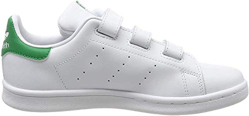 adidas Originals Stan Smith CF, Zapatillas Unisex niños, Blanco (Footwear White/Footwear White/Green), 28 EU