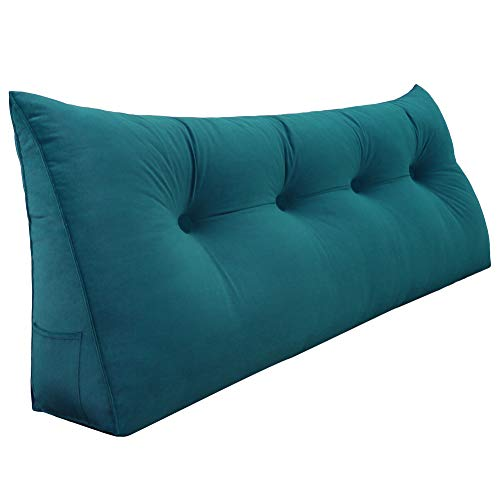 VERCART Long Back Support Pillow Heaboard Bed Pillows Wedge Backrest Reading Bolster Cushions for Sofa Bed Velvet Cyan 122cm 48inches