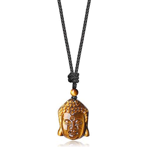 COAI Collana Unisex Regolabile con Pendente Testa di Buddha, Collana con Ciondolo in Pietre Naturali Occhio di Tigre