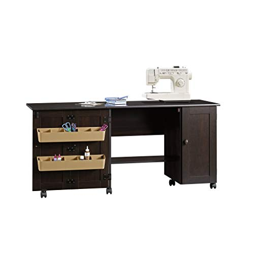 Sauder Select Collection Easy Rolling Sewing and Craft Table/Cart, Cinnamon Cherry finish (411615)