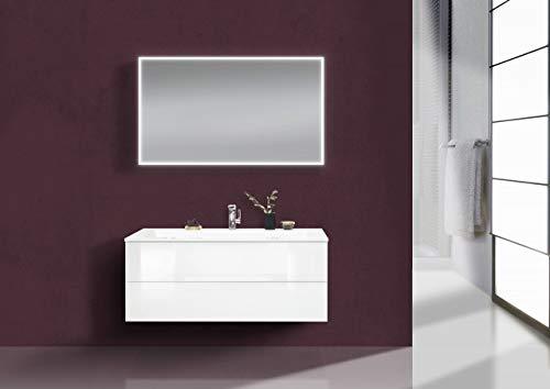 Intarbad ~ Design Badmöbel CUBO grifflos,120 cm Evermite Waschbecken, Weiß Hochglanz Lack Beton Anthrazit IB1487