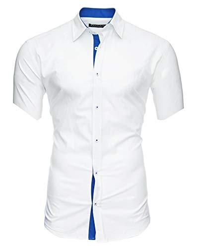 Kayhan Herren Kurzarm Hemd Florida White/Blue M