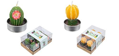 M.E.G. Kaarten & Geschenken Leuke Decoratieve Gele en Groene Cactus Kaarsen - Set van 12 Theelichten