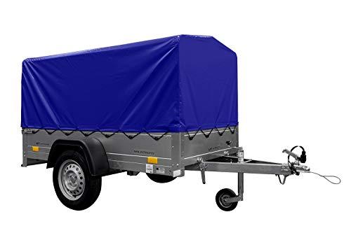 UNITRAILER Remolque basculante de Carga Ligero Garden Trailer 200 Kipp 200x106 750 KG con toldo Azul y Rueda Jokey