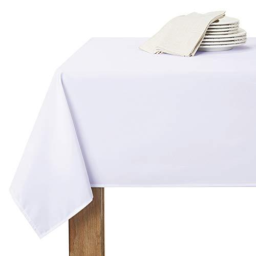RYB HOME Nappe Rectangulaire Blanche - 150 x 260 cm Blanc Nappe Etanche Imperméable de Cuisine Tissu Uni Polyester pour Salle à Manger/Extérieur Usage
