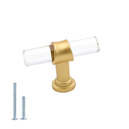 goldenwarm Clear Acrylic Cabinet Knobs Brushed Brass Drawer Pulls - Brushed Brass Cabinet Knobs LS9165GD Modern Kitchen Cabinet Handles 1 Pack