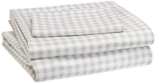 AmazonBasics Kid's Sheet Set - Soft, Easy-Wash Lightweight Microfiber - Twin, Grey Gingham Plaid