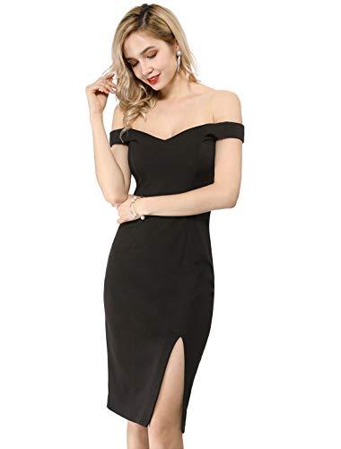 Allegra K Women's Off Shoulder Sweetheart Neck Slit Bodycon Party Midi Dress XL Black
