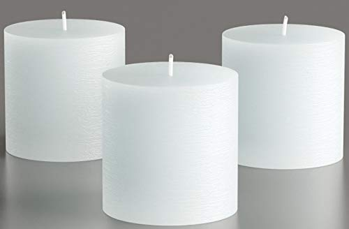 Set of 3 White Pillar Candles 3 x 3 Unscented Rustic for Weddings, Home Decoration, Restaurant, Spa, Church - Smokeless and Dripless