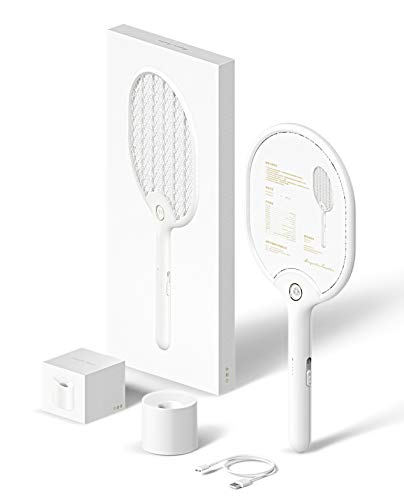 Electric Bug Zapper Fly Swatter Zap Mosquito Best for Indoor and Outdoor Fly Killer - Rechargeable (White Zapper) Fly Catcher