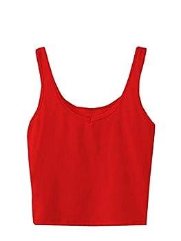 SweatyRocks Women s Sleeveless Casual Ribbed Knit Shirt Basic Crop Tank Top Red S