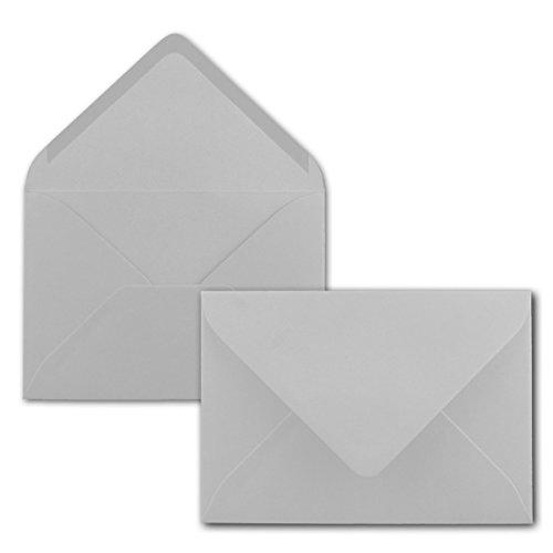 50x Briefumschläge B6-17,5 x 12,5 cm - Hellgrau - Nassklebung mit spitzer Klappe - 120 g/m² - Für Hochzeit, Gruß-Karten, Einladungen