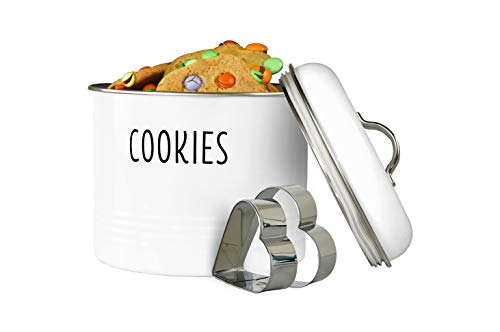 Outshine Vintage Cookie Jar with Airtight Lid, Cute Cookie Container with 2 Bonus Cookie Cutters, Decorative Kitchen Food Storage Holder for Cookies, Biscuits, and Baked Treats, White