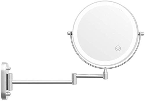 L&B-MR Espejo de maquillaje Espejo de maquillaje 10X Ampliación LED Táctil Atenuación 360° Giratorio Extendido Plegable para Hotel Vanity Afeitado a Baterías en Dormitorio o Baño