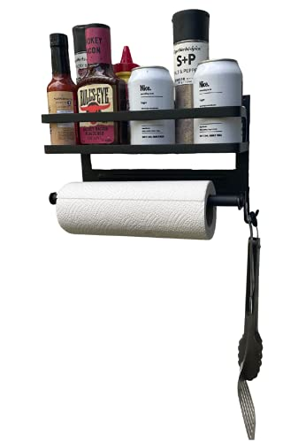 Grill Caddy for Outdoor Grill/BBQ, Magnetic with Paper Towel holder, Organize your Condiments and Utensils around the Barbecue with ease