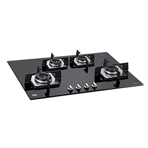 Glen 4 Burner Built in Glass Gas Hob with Italian Double Ring Burners, Auto Ignition, Black (1074 SQ in)